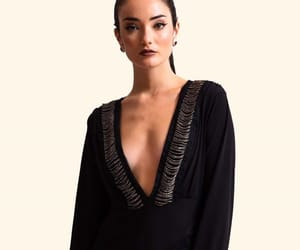 black, decolletage, and haute couture image