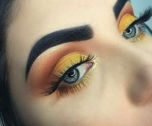eyes, makeup, and yellow image