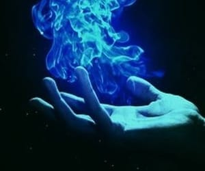 blue, fire, and pinterest image