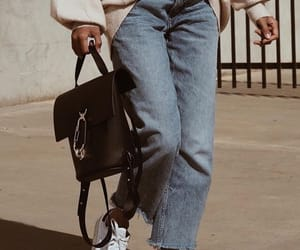 backpack, jeans, and walking image