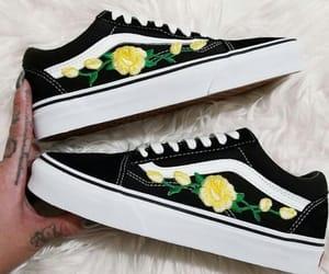 vans, black, and flowers image
