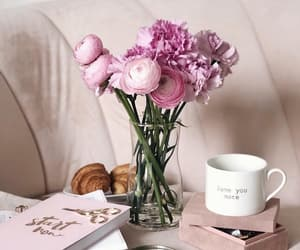 books, bouquet, and coffee time image