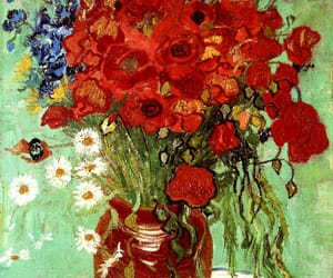 art, van gogh, and red poppies and daisies image