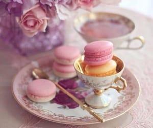 food, macarons, and tea image