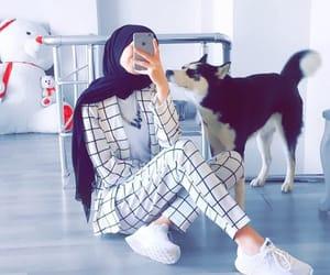 black, dog, and hijab image