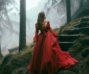 red, princess, and dress image