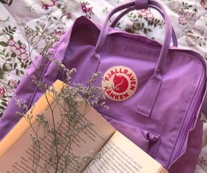 book, fjallraven kanken, and flowers image