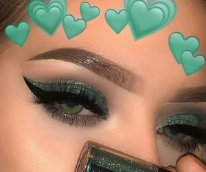 girl, green, and makeup image