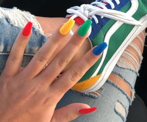 nails, vans, and rainbow image