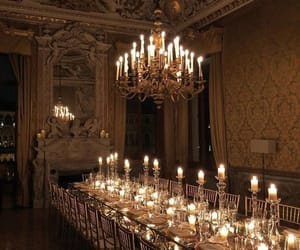 chandelier, gold, and dinner image