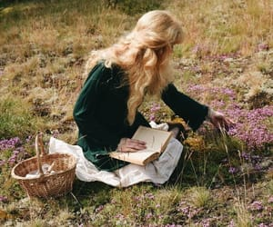 nature, book, and girl image