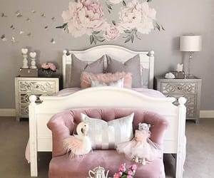 bed room, decor, and flowers image