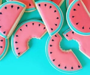 wallpaper, blue, and watermelon image