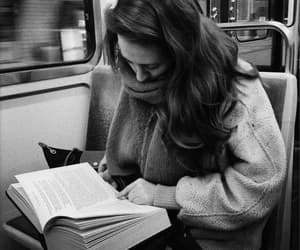 book, reading, and black and white image