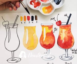 beverage, tutorial, and watercolour image
