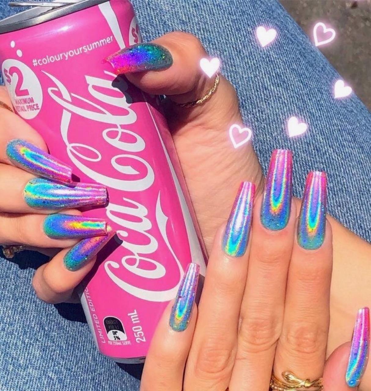 nails, pink, and rainbow image