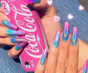 nails, pink, and rainbow image
