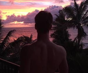 boy, sunset, and pink image