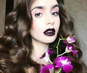 black lips, curly hair, and lily collins image