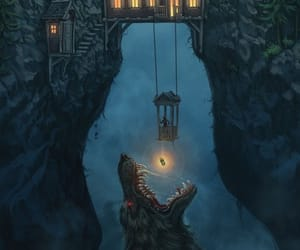 wolf, night, and house image