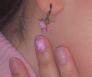 baby pink, butterfly, and earrings image