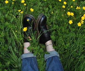 flowers, grass, and jeans image