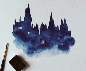 blue, hogwarts, and art image