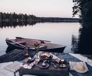 boat, food, and lake image