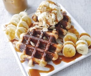 food, banana, and waffles image