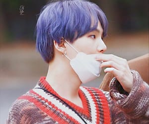 purple hair, bts, and kbs music bank image
