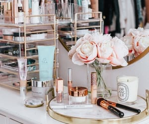 makeup, Brushes, and flowers image