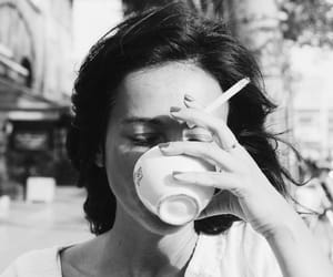 girl, coffee, and cigarette image