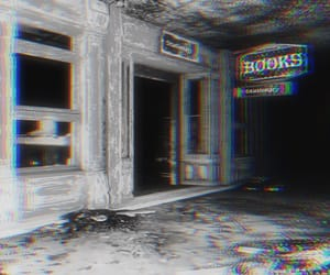 black and white, fallout, and books image