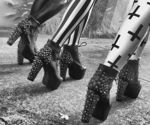 shoes, black and white, and cross image