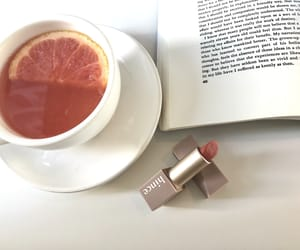 book, cosmetic, and tea image