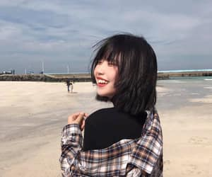 aesthetic, asian girl, and beach image