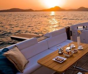sunset, yacht, and luxury image