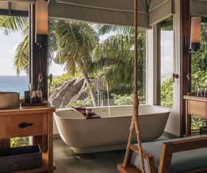 bathtub, interior design, and relaxing image