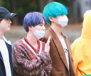 blue hair, yoongi, and purple hair image
