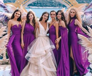 dress, bride, and bridesmaid image