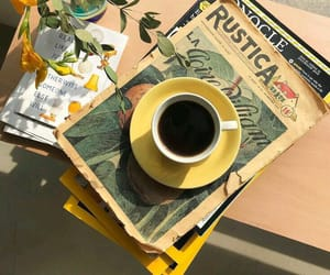 coffee, yellow, and book image