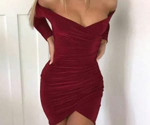 cleavage, fashion, and red image