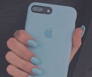 blue, nails, and iphone image