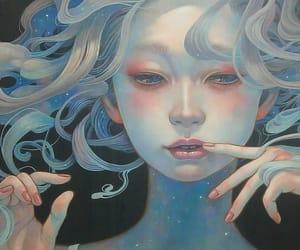 blonde hair, mermaid, and hand image