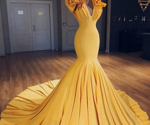 dress, yellow, and style image
