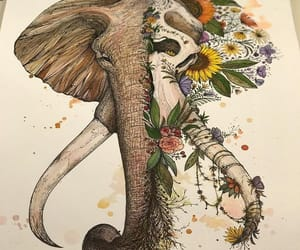 elephant, hipster, and tattoo image