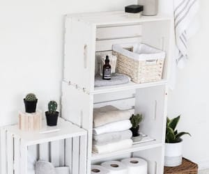 bathroom, crates, and decor image