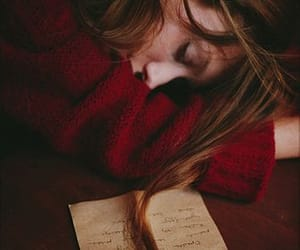 girl, Letter, and sleep image