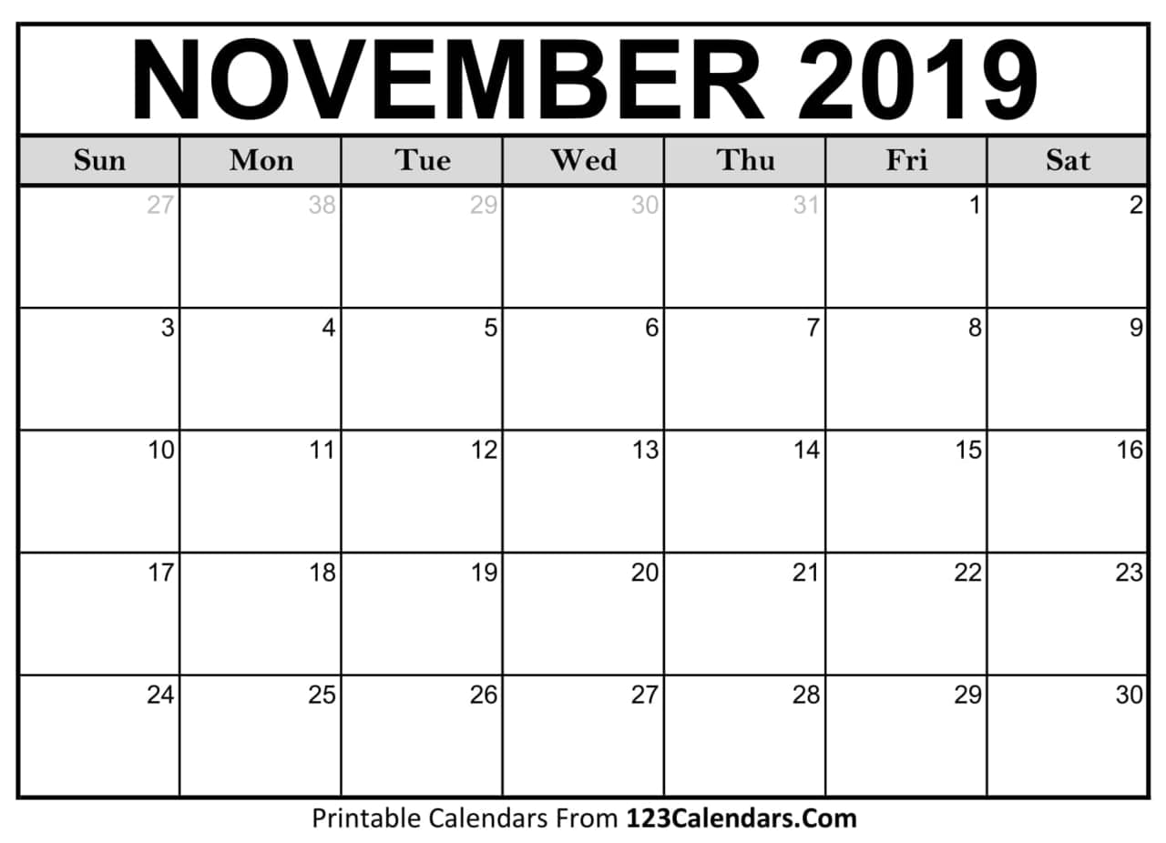 graphic regarding Printable November Calendars identified as Printable November 2019 Calendar upon We Middle It