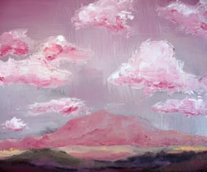 art, pink, and clouds image